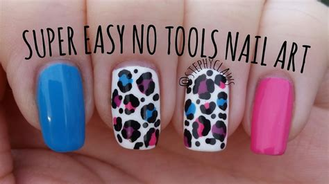 nail art tutorial easy no tools super easy no tools nail art step by step bright leopard