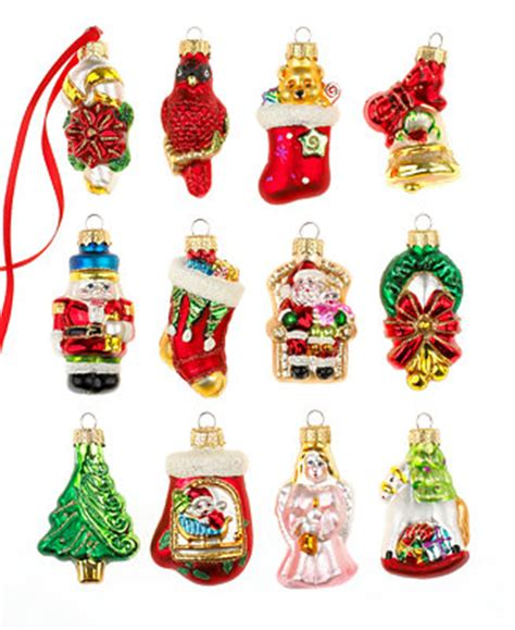 holiday lane box of 12 mini assorted ornaments holiday