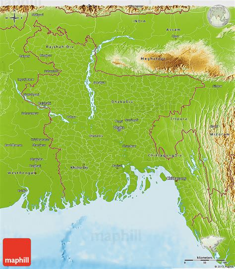 geographical map of bangladesh bangladesch physik karte