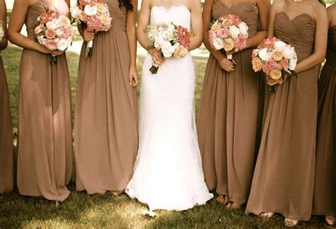 Mocha bridesmaid dresses, antique lace, pink peonies