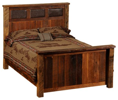 reclaimed wood king bed fireside lodge reclaimed wood and leather bed california