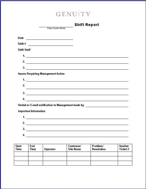 Production End Of Shift Report Template 27 Images Of Rn Shift Report Template Leseriail