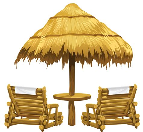 beach transparent transparent tiki beach umbrella and chairs png clipart