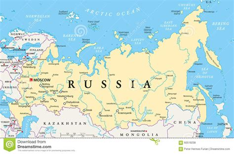 russia political map with cities russia political map stock vector illustration of