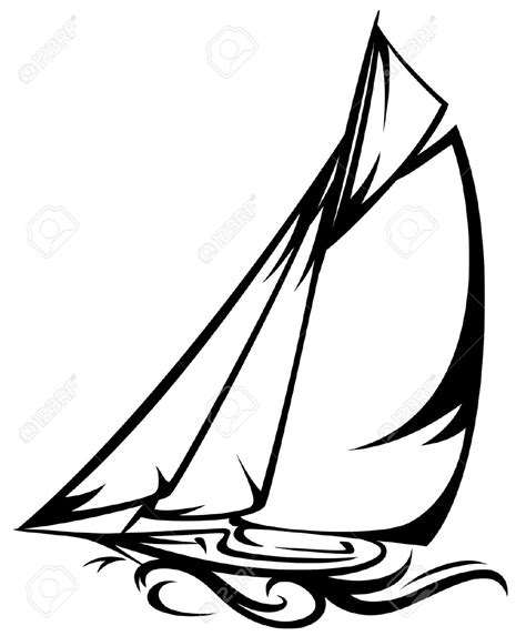 sailboat line drawing vector sailing boat clipart line drawing pencil and in color