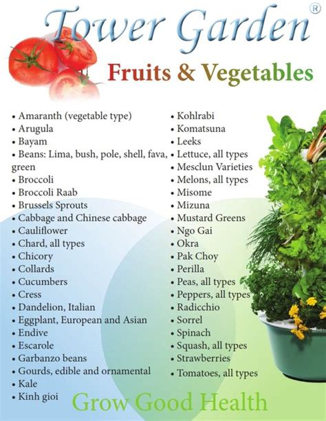 check out the list of fruits and vegetables that you can