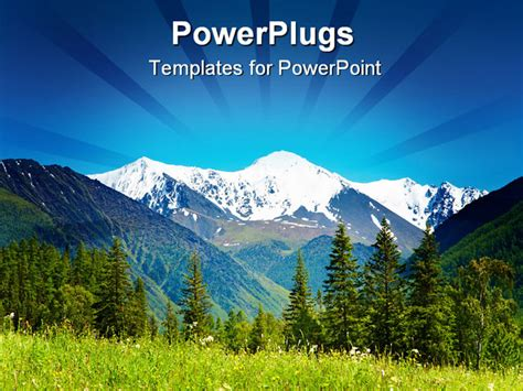 powerpoint templates free mountains landscape with snowy mountain and blue sky powerpoint