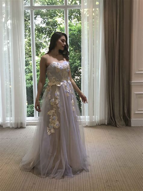Wedding Gowns With Colored Embroidery by Pastel Colored Strapless Wedding Dress With Embroidery