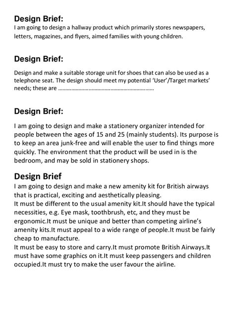design brief definition ks3 design brief sles