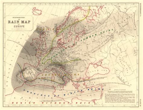 europe hyetographic or map of europe 1850