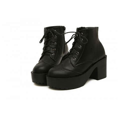 black leather platform lace up brogue heel boots