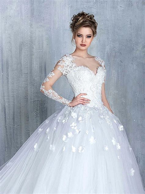 Elegant Long Sleeve White 2018 Wedding Dress tulle Ball