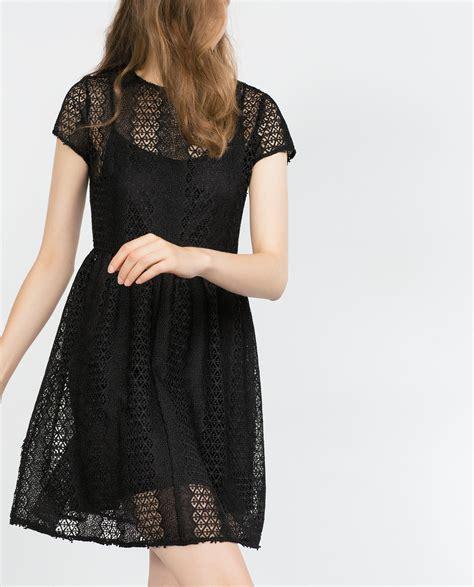 Dress Zara Black Lace zara guipure lace dress with flounce skirt in black lyst