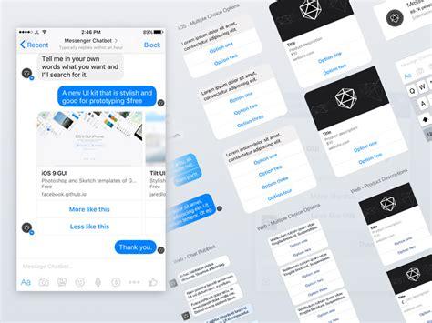 free chat messenger for mobile messenger ui kit for chatbots sketch freebie
