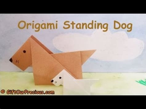 3d origami dog tutorial origami 3d standing dog simple and easy origami animals