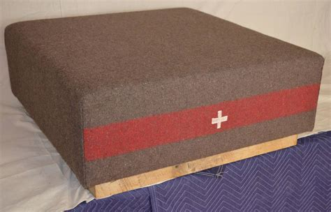 Ottoman Frames For Upholstery Ottoman Upholstered In A Vintage Swiss Army Blanket On Barnwood Frame At 1stdibs