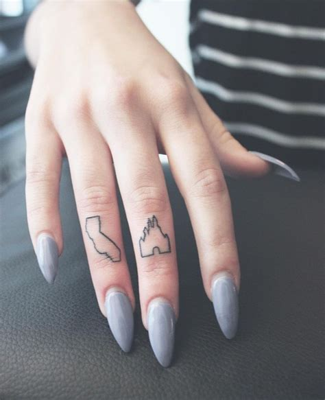 small cute finger tattoos california and disney castle finger tattoos