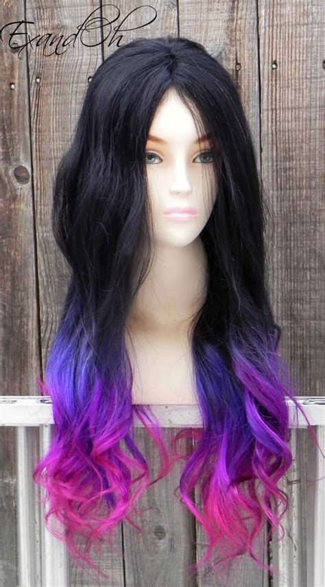 pink and purple ombre black purple pink ombre remy human hair 250 300g by