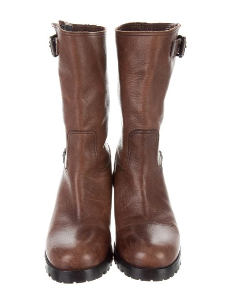 prada leather mid calf boots shoes pra162697 the realreal