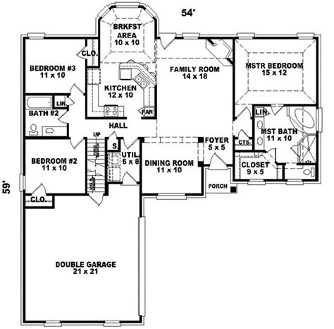 house plans 2000 square feet one level 2000 square feet 3 bedrooms 2 batrooms 2 parking space