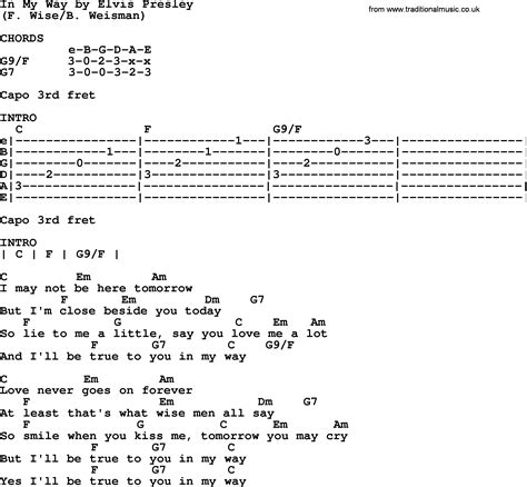 in my way by elvis lyrics and chords