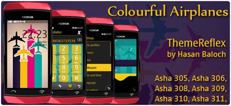 themes for nokia asha 309 mobile colorful airplanes theme for nokia asha 305 asha 306