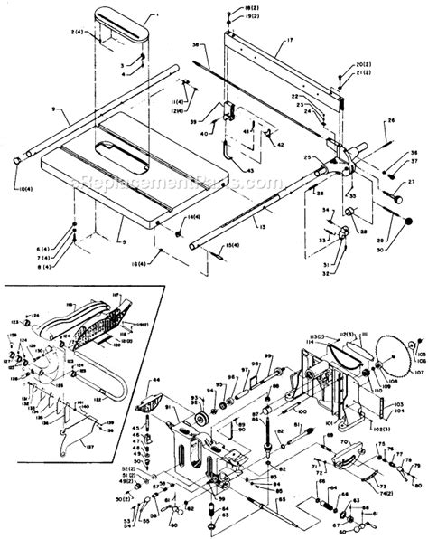 delta table saw parts delta 34 305 parts list and diagram type 1