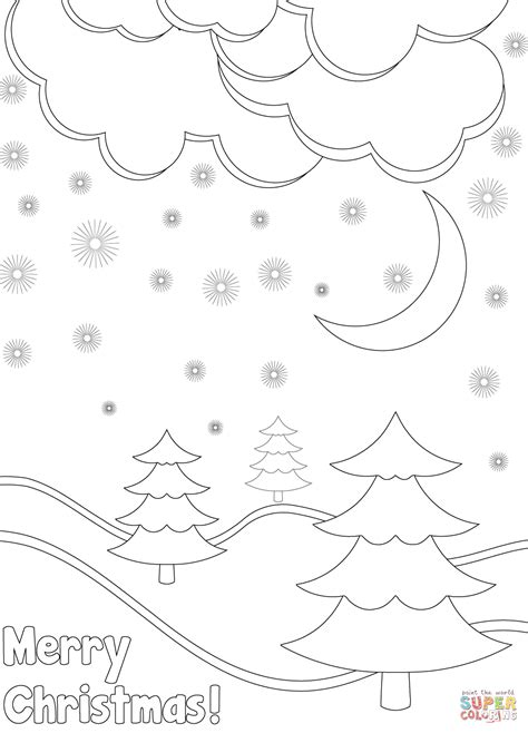 Merry Christmas Card with Winter Landscape coloring page