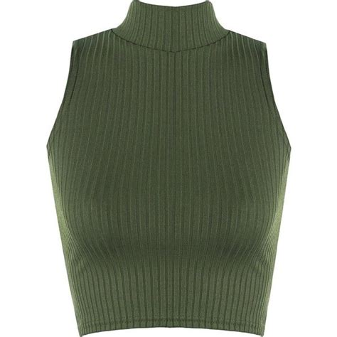 Jeje Turtle Strippy Halter Neck Roundhand wearall s ribbed knitted sleeveless turtle neck vest crop 18 sek liked on