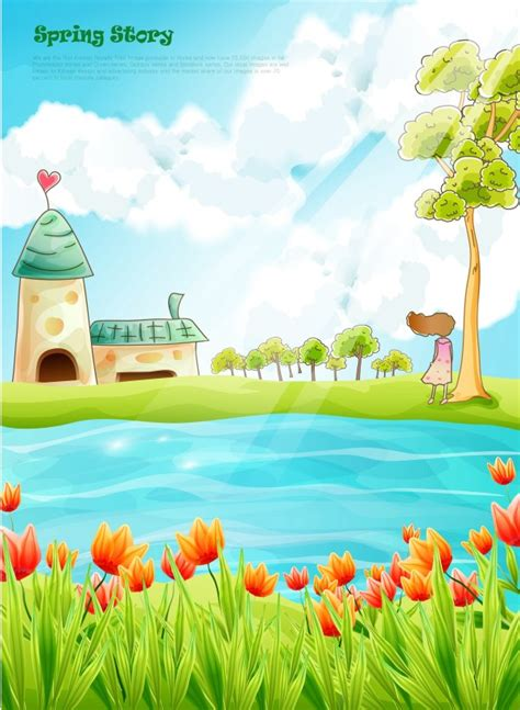 beautiful cartoon spring scenery vector graphics 02