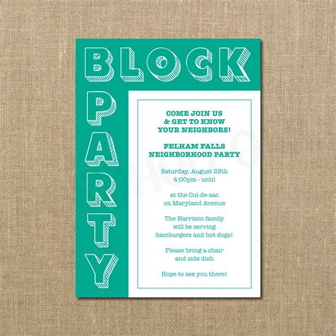 block invitation template neighborhood invitation invitation librarry