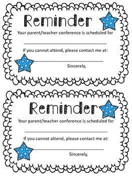 parent teacher conference reminder note    jill tpt