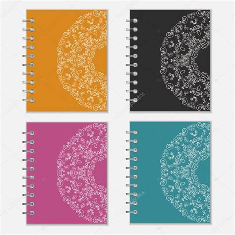 flower design notebooks set of colorful notebook covers with flower design stock