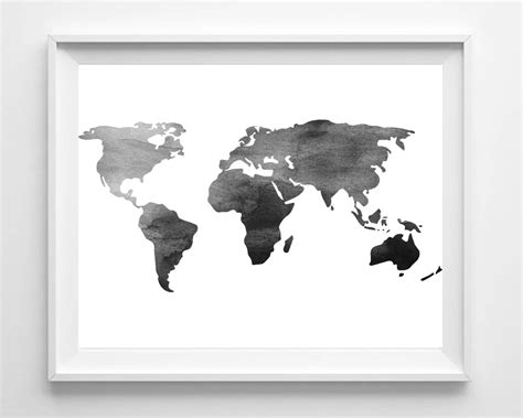 printable wall art black and white watercolor world map print printable black white wall art