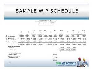 Wip Report Sample Understanding Construction Financial Statements