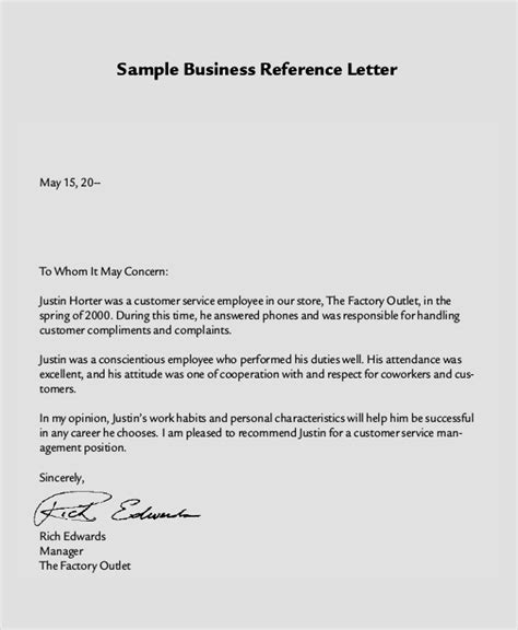 Business Customer Reference Letter Sle business reference letter template word 28 images
