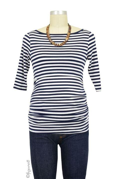 Baju Mora Shirt Navy baju 3 4 sleeve boatneck maternity nursing top in navy white stripes