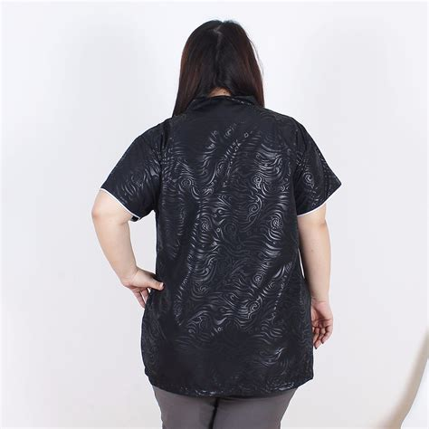 Baju Atasan Blouse Big Size Import Black 2 Pcs 209314 meihwa embroidery shirt black toko baju wanita big size jumbo