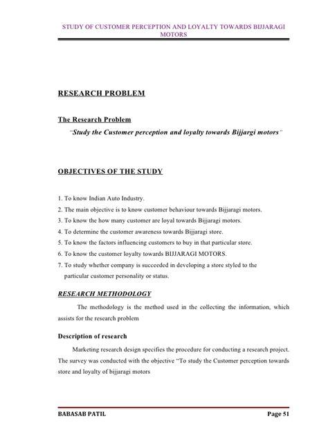 Mba Project Report On Customer Loyalty by Customer Perception Bijjaragi Motors Mba Project Report