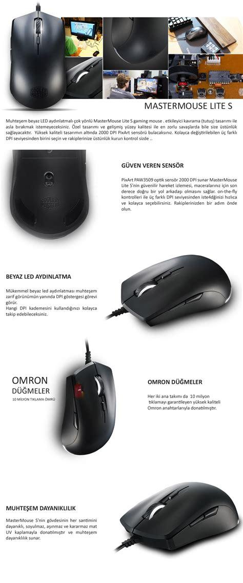 coolermaster mastermouse lite s siyah optik gaming mouse