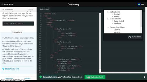 html tutorial code academy codecademy answers css