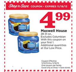 coupon stl shop n save maxwell house coffee for 3 99