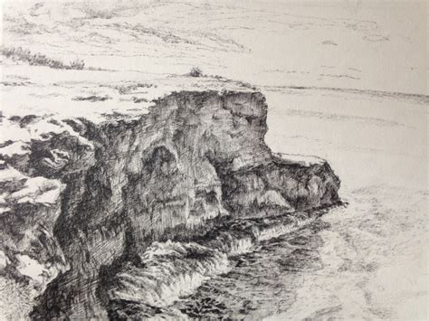 sea cliff drawing  empty notebook