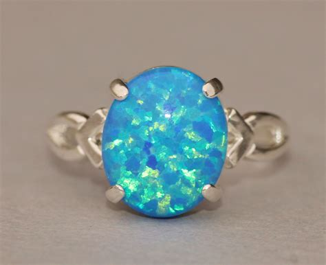 blue opal rare denim marine blue opal ringgenuine opal ringsterling