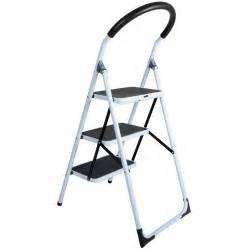 step ladders 3 tread strong steel non slip folding step