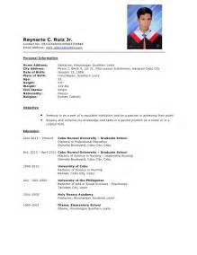 Resume Sample Format In The Philippines by Resume Sample For Fresh Graduate Jennywashere Com
