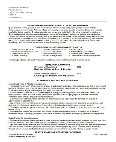 sle marketing assistant resume 8 exles in word pdf
