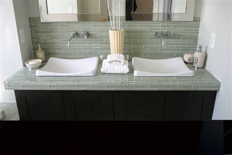 glass tile countertop powder room contemporary with accent