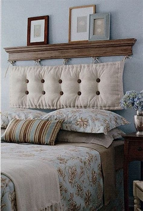 Decoracion Cabeceros De Cama #3: By-hanging-a-chaise-cushion-from-a-shelf....voila-A-DIY-headboard-Buttons-and-bows-can-be-added-for-more-personality-and-a-pop-of-color-too.jpg