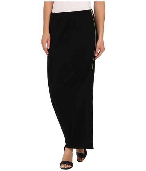 vince camuto side zip maxi skirt in black rich black lyst
